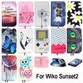 Sunset2 Phone caso PU carteira de couro caso titular do cartão suporte Protector tampa da pele para WIKO pôr do sol 2 suave borracha TPU Silicone Case