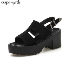 Ankle Strap Summer Shoes Women Sexy chunky sandals Platform Shoes Block Heels Female Black Sandals punk summer shoes YMA838 punk shoes big shoes special custom shoes soled cloth strap for lattice platform shoes custom 1381n