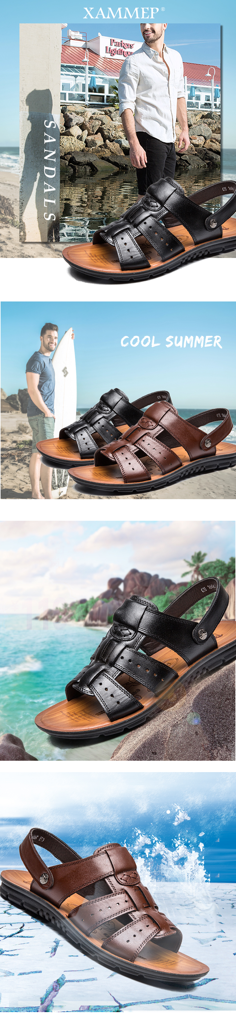 HTB16yQVXoR1BeNjy0Fmq6z0wVXaD - Xammep Men Sandals Genuine Split Leather Men Beach Shoes Brand Men Casual Shoes Men Slippers Sneakers Summer Shoes Flip Flops