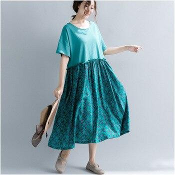 2019 Vintage Summer New O-Neck Short Sleeve Casual Women Clothes Print Floral Dresses Women Patchwork Dress