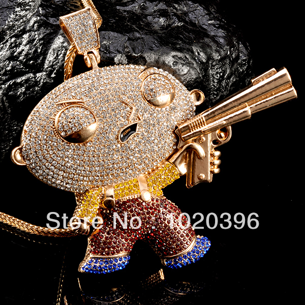Family guy stewie figure necklaces pendants full crystal with 36 family guy stewie figure necklaces pendants full crystal with 36 brass chains hip hop aloadofball Choice Image