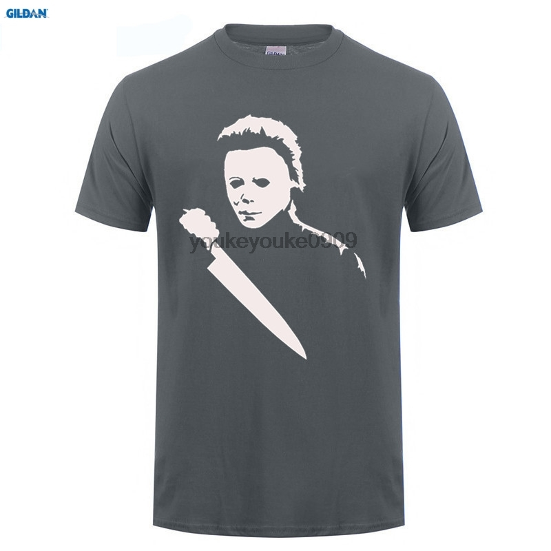 GILDAN T-Shirt Solid Scary Movie Horror Halloween Michael Myers Mask And Drips T Shirt Mens Tees New Brand Man T Shirt Dress