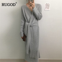 RUGOD New Korean Belted Long Sweater Dress Women Solid Casual Soft Warm Knitted Dress Female Elegant V Neck Long Sleeve Vestidos
