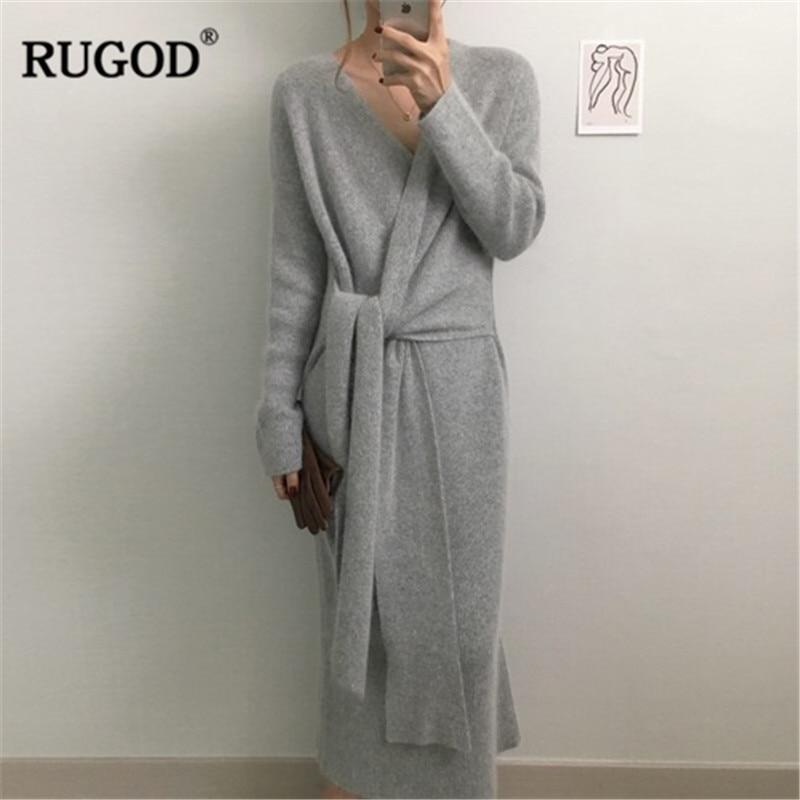 Coreano com Cinto Decote em v Rugod Novo Longo Camisola Vestido Feminino Sólido Casual Macio Quente Cashmere Elegante Manga Comprida