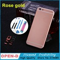 "New !! HQFor iPhone6 6s 6sp 4.7"" 5.5"" housing like iPhone 6s replacement frame Rose gold color metal Back Chassis cover 6P"