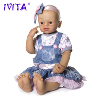 IVITA 22 Inches Full Silicone Dolls Reborn Metal Skeleton Silicone Reborn Baby Dolls Root Hair Silicone Doll Brown Eyes Girl Toy