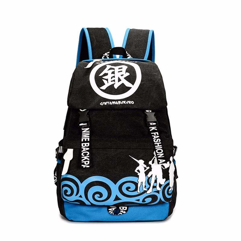 Men Women Boys Girls Japan Anime Gintama  Sakata Gintoki Canvas Backpack Rucksack School Book Laptop Bag Mochila