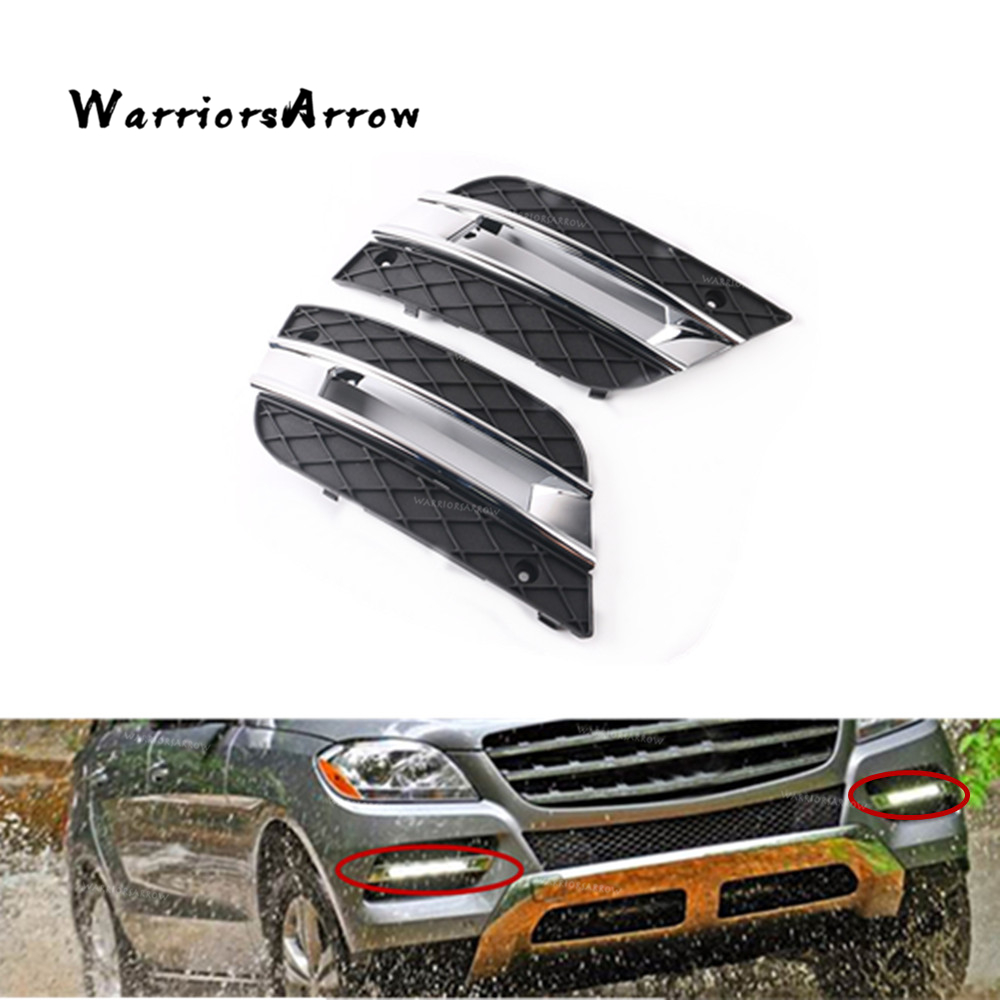 WarriorsArrow Pair DRL Light Lamp Cover Front Bumper Grille For Mercedes Benz ML350 ML450 2009 2010