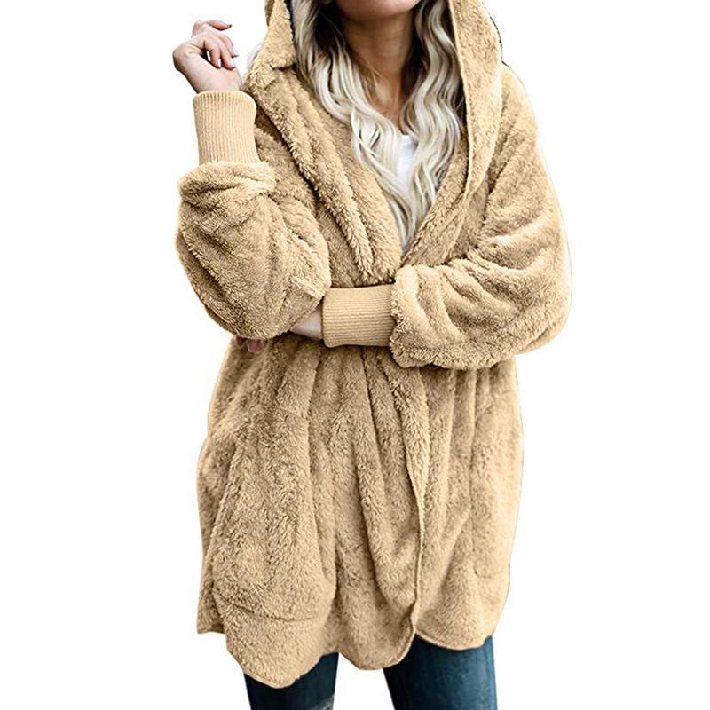 TEMOFON Fleece Sweater Women Cardigan Female Cotton Warm Long Sweater Veste  Femme Kimono Cardigan Hooded Fashion Coats ELD1166 Size Table 15bad74e5