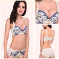 5 Colors 2015 Quality Deep V Sexy Blue and White Embroidery Adjustable Bra 3D Small Chest Bra Sets 32/75/36/85AB Free Shipping
