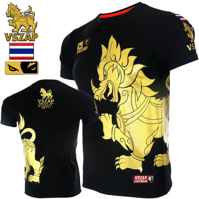 VSZAP Huge Kylin Tshirt Men Fitness Workout Short-Sleeved UFC Muay Thai High Quality T-Shirt MMA Fighting Fight Sanda Sporting