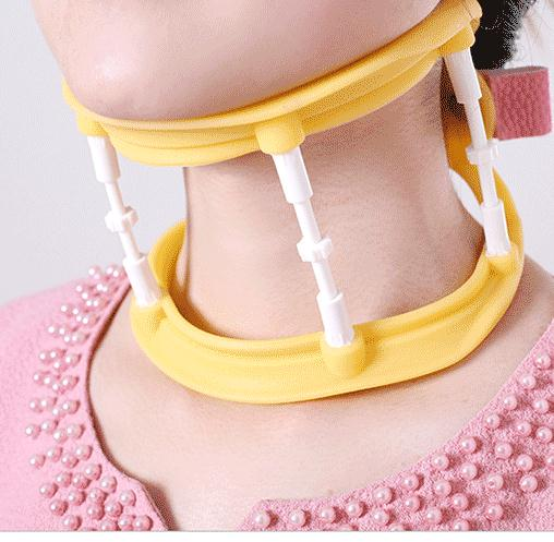 Cervical traction device remedical household adjustable collar silica gel traction device four seasons medical neck support orthosis adjustable cervical collar device fixed traction braces vertebra rehabilitation head protection