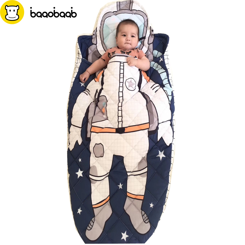 BAAOBAAB Pure Cotton 100% Cotton Baby Sleeping Bag High Quality Shark Astronaut Children's Style Sleeping Bag Baby Bed Mermaid цена