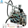 OPHIR Pro Airbrush Kit wth Mini Air Compressor Dual Action Airbrush Pistool voor Model Hobby Cosmetica Tattoo Make Body verf