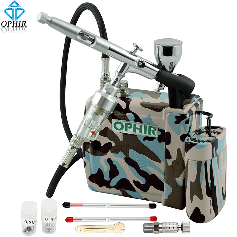 OPHIR Pro Airbrush Kit wth Mini Air Compressor Dual Action Airbrush Spray Gun for Model Hobby Cosmetics Tattoo Makeup Body Paint 1pc portable single action airbrush gun 1pc mini air compressor suitable for makeup spray salon nail hobby cake