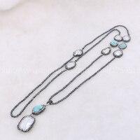 Perla Natural druzy collar con piedra azul cadena de perlas artesanales 3mm hematite piedra mezcla 40