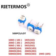 500 pcs RM065 RM-065 100 200 500 1 K 50 20 10 5 2 K K K K K 100 K 200 K 500 K 1 M ohm Trimpot Trimmer Potenciômetro