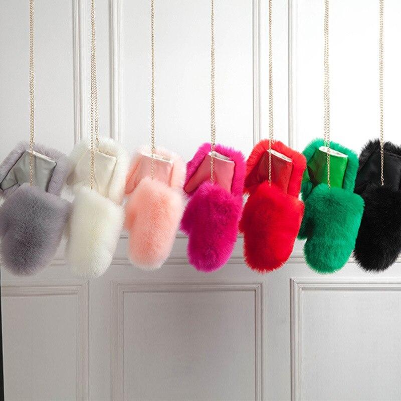 Women's Gloves Warm Winter Imitation Fox Fur Gloves Female Hanger Plus Velvet Thick Plush Unisex Artificial Fox Leather Gloves
