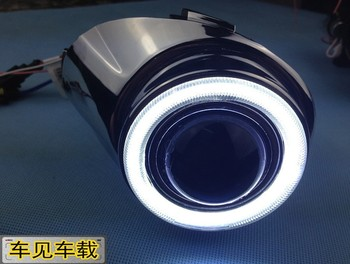 eOsuns Innovative COB angel eye led daytime running light DRL + halogen Fog lamp + Projector Lens for ford fiesta, black version