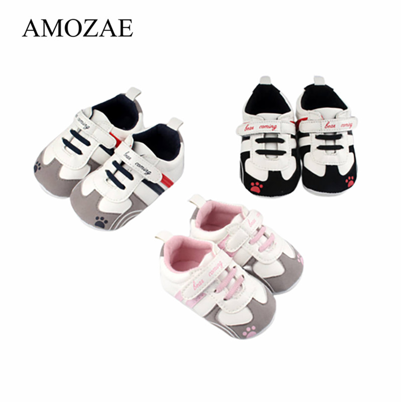 New Arrival Baby Shoes Baby Boys Shoes PU Striped Sneaker Print Paw Non-slip Baby Kids First Walkers Baby Moccasins Shoes