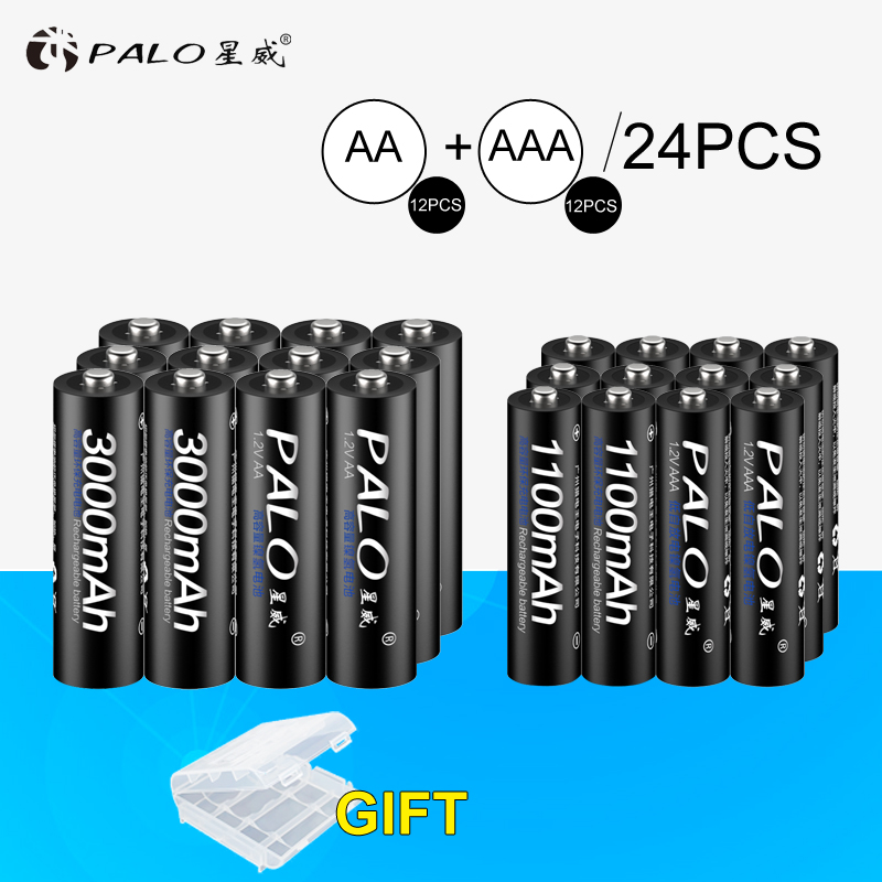 PALO 12Pcs 1.2V 3000mAh AA Batteries AA Rechargeable Battery+12Pcs 1100mAh AAA Batteries NI-MH AA/AAA Rechargeable Battery rechargeable 1 2v 3800mah aa ni mh batteries pair
