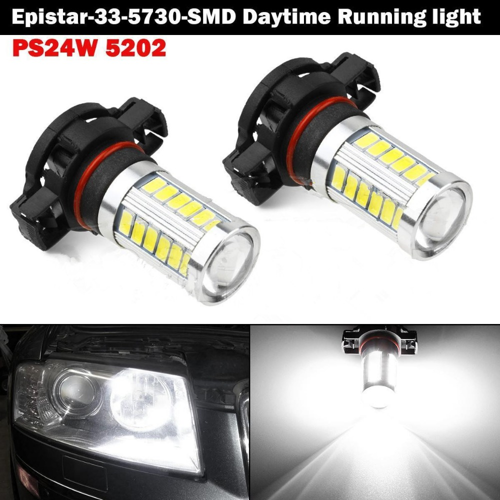 CYAN SOIL BAY 33SMD 5730 33 SMD LED H16 5202 20W Projector Daytime Running Light DRL x 2