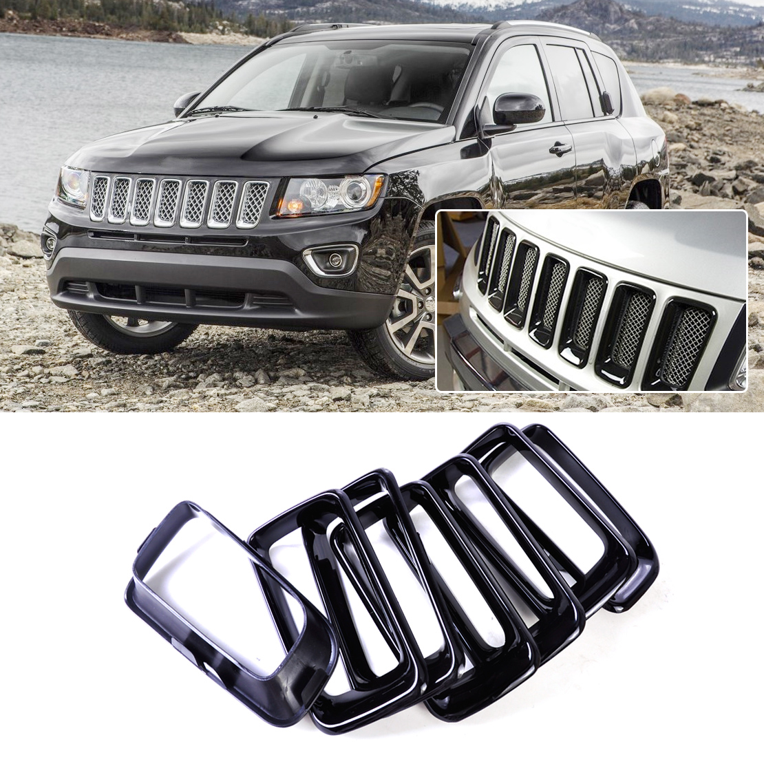 CITALL 7pcs ABS Front Grille Vent Hole Cover Trim Insert Frame Billet Vertical for Jeep Compass