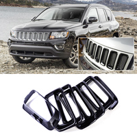 CITALL 7pcs ABS Front Grille Vent Hole Cover Trim Insert Frame Billet Vertical for Jeep Compass 2011 2012 2013 2014 2015 2016