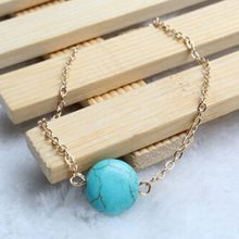 Natural Blue Gem Bracelet Natural Material Bracelet Simple Elegant Round Girl Jewelery(China)