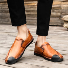 Men Casual Shoes Fashion Men Shoes Genuine Leather Men Loafers Moccasins Slip On Men's Flats Male Driving Shoes(China)