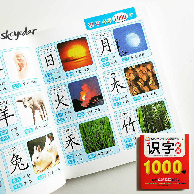 Picture-Book Words Learning Chinese Pinyin Chinese-Characters Radical-Stroke Children