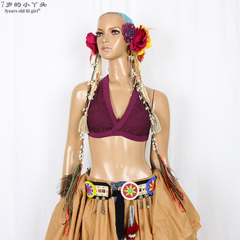 цена на Lace Tribal Belly Dance bra Top halter neck top, gothic top Gypsy Bohemian top CCC01