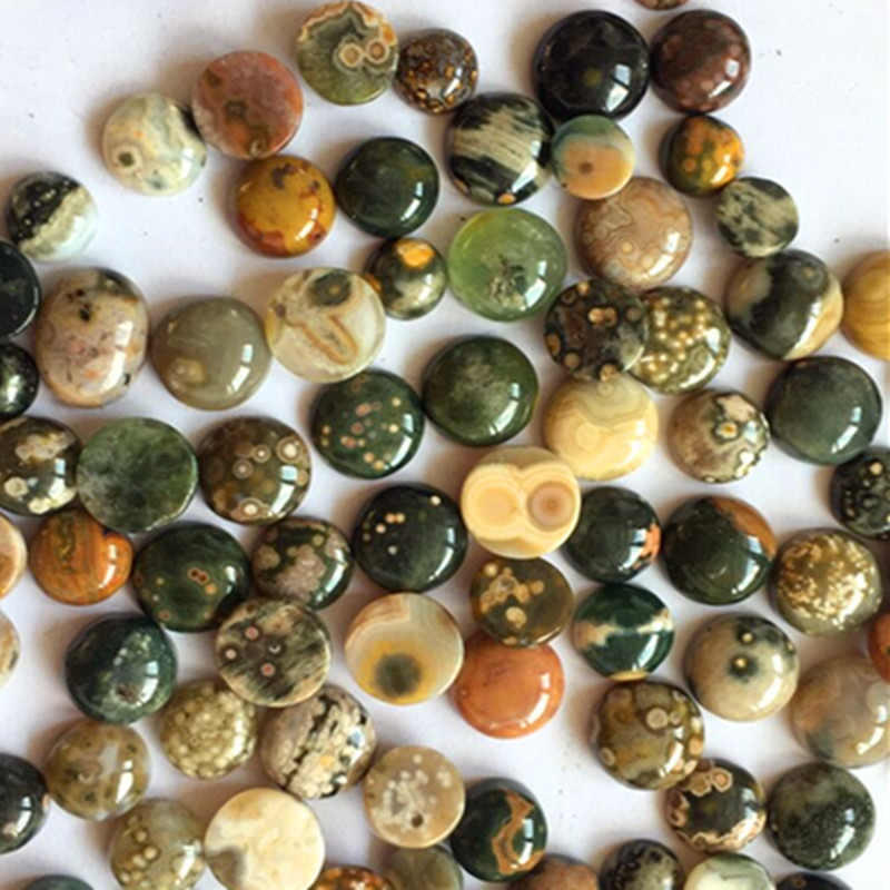 (12 pieces/lot) Wholesale Natural Old Ocean Jaspers Round CAB CABOCHON 10x6mm Free Shipping Fashion Jewelry HY006