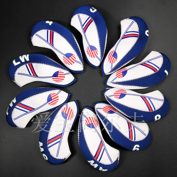 10pcs Neoprene Golf Club Iron Head Cover Set White With Blue US Flag Headcovers One size Fit All Irons Clubs Golf Accessories
