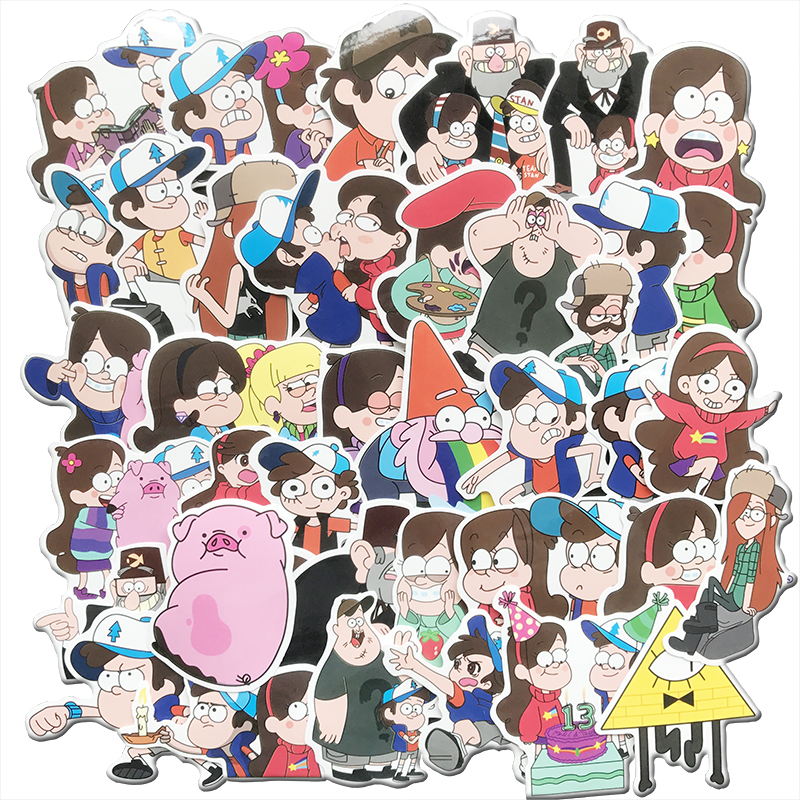 39Pcs/Set Anime Gravity Falls Sticker For Skateboard Motorcycle Luggage Laptop Decals Waterproof Cute Sticker Toys For Kids Gift