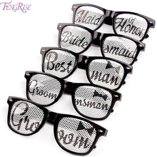 FENGRISE Bridal Shower Novelty Sunglasses Groom Bride Glasses Bachelorette Party Hen Night Fancy Dress Wedding Decor Supplies purple bachelorette hen party supplies hen letter glasses bride sunglasses eye decoration photo props