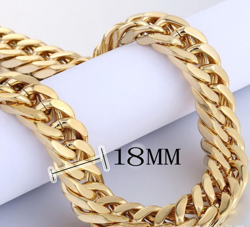 GD Gold Necklace Men Jewelry 2 Colors Miami Cuban Chains Thick Stainless Steel Long Big Chunky Necklace