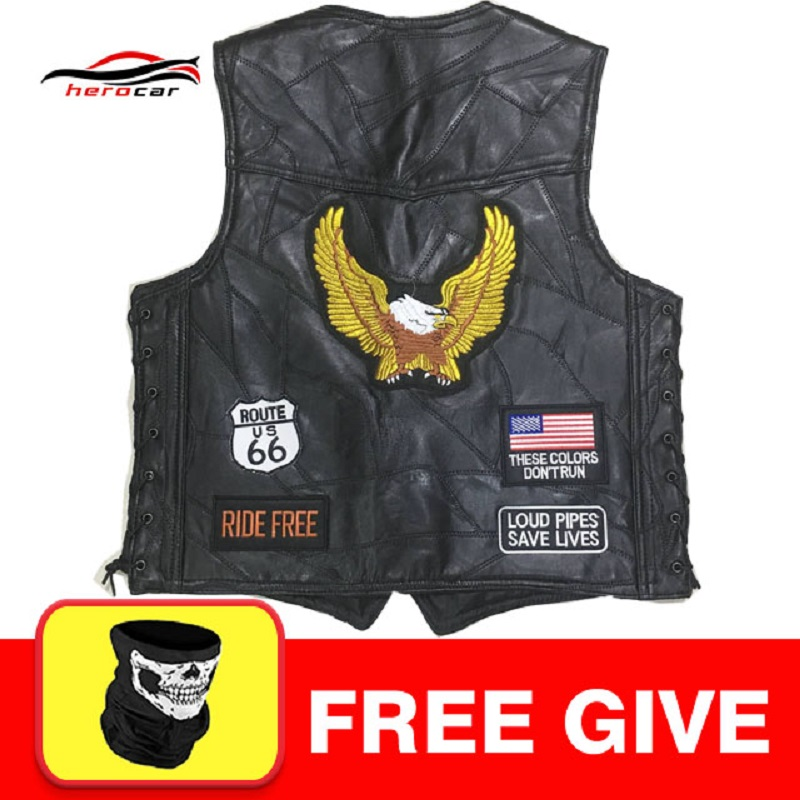 New Motorcycle Jacket Mens Genuine Leather Vest Punk Retro Classic Style Motorcycle Jacket Biker Club Casual Vest Moto Clothing free shipping new vintage brand clothing mens cow leather jackets men genuine leather biker jacket motorcycle homme fitness