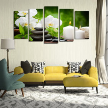 Frame 5 Panel Oil Painting Canvas  White Candle Flower Modular Decoration Home Decor Modern Wall Pictures For Living DC1-100(18)