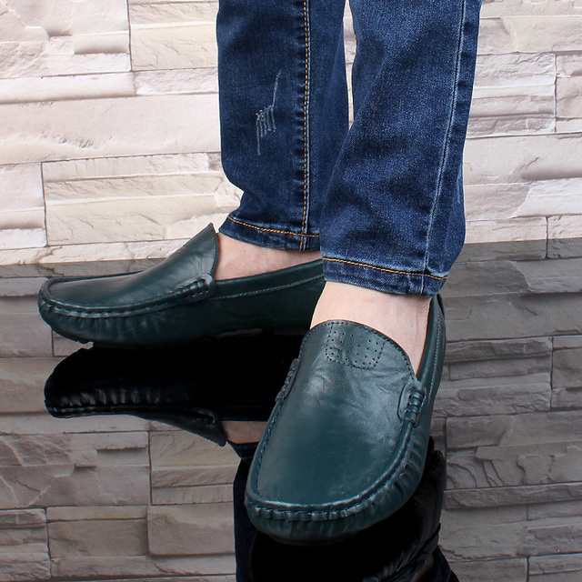 SURGUT Leather & Fur Vintage Genuine Leather Soft Loafers for Men