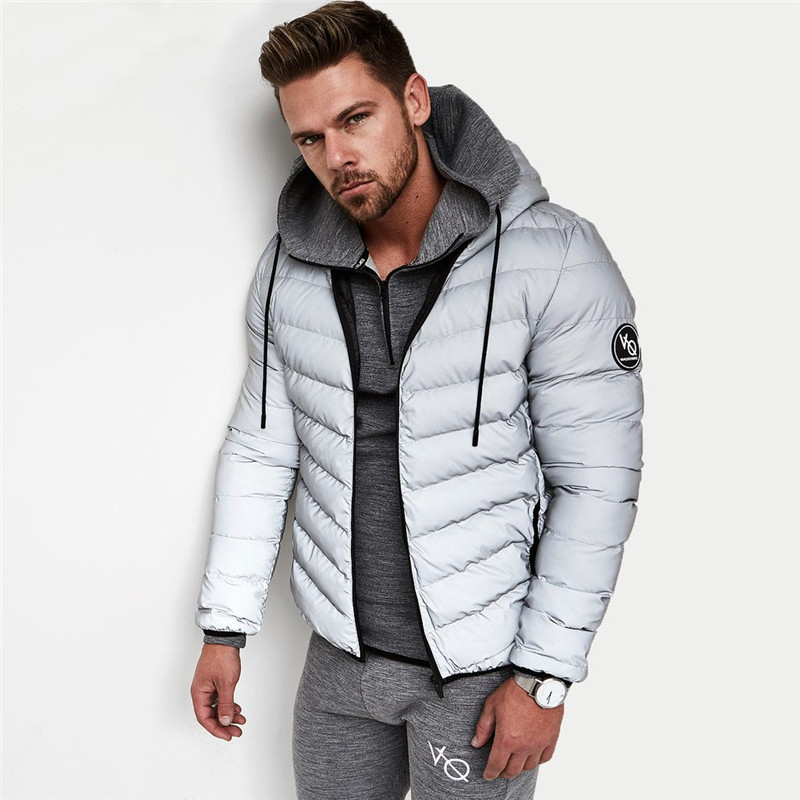 2017 Winter Mens Jacket Outwear With Artificial Cotton Hooded Collar Casual Patchwork Cotton Padded Hooded Keep Warm Coat