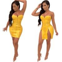 Yellow PU Leather Sexy Strapless Dress Women Zipper Side Slit Sheath Mini Club Party Dress Bodycon Skinny Midi Club Dress