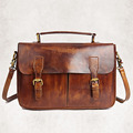 Vintage Women Genuine Leather Messenger Bag Casual Office Laides Sling Shoulder Bags First Layer Natural Cowhide Tote Handbag