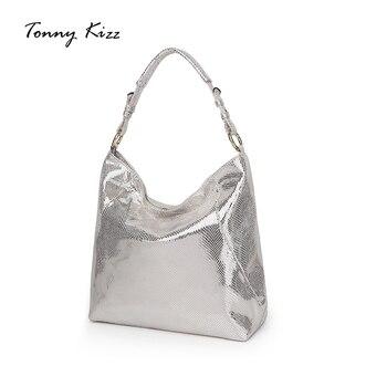 Tonny Kizz luxe handtassen vrouwen tassen designer sliver schoudertas vrouwen pu leer vrouwelijke tassen hobos bling bolso mujer