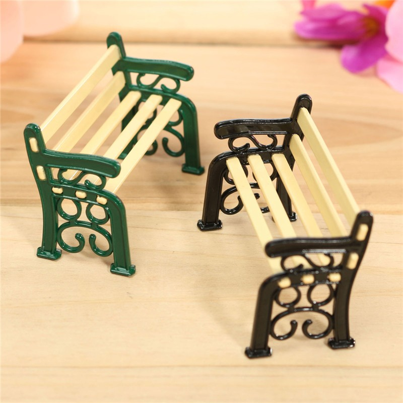 DIY 1 12 Hollow Design Miniture Dollhouse Accessories Wooden Decoration Chair Furniture Fresh Style Bench Ornament