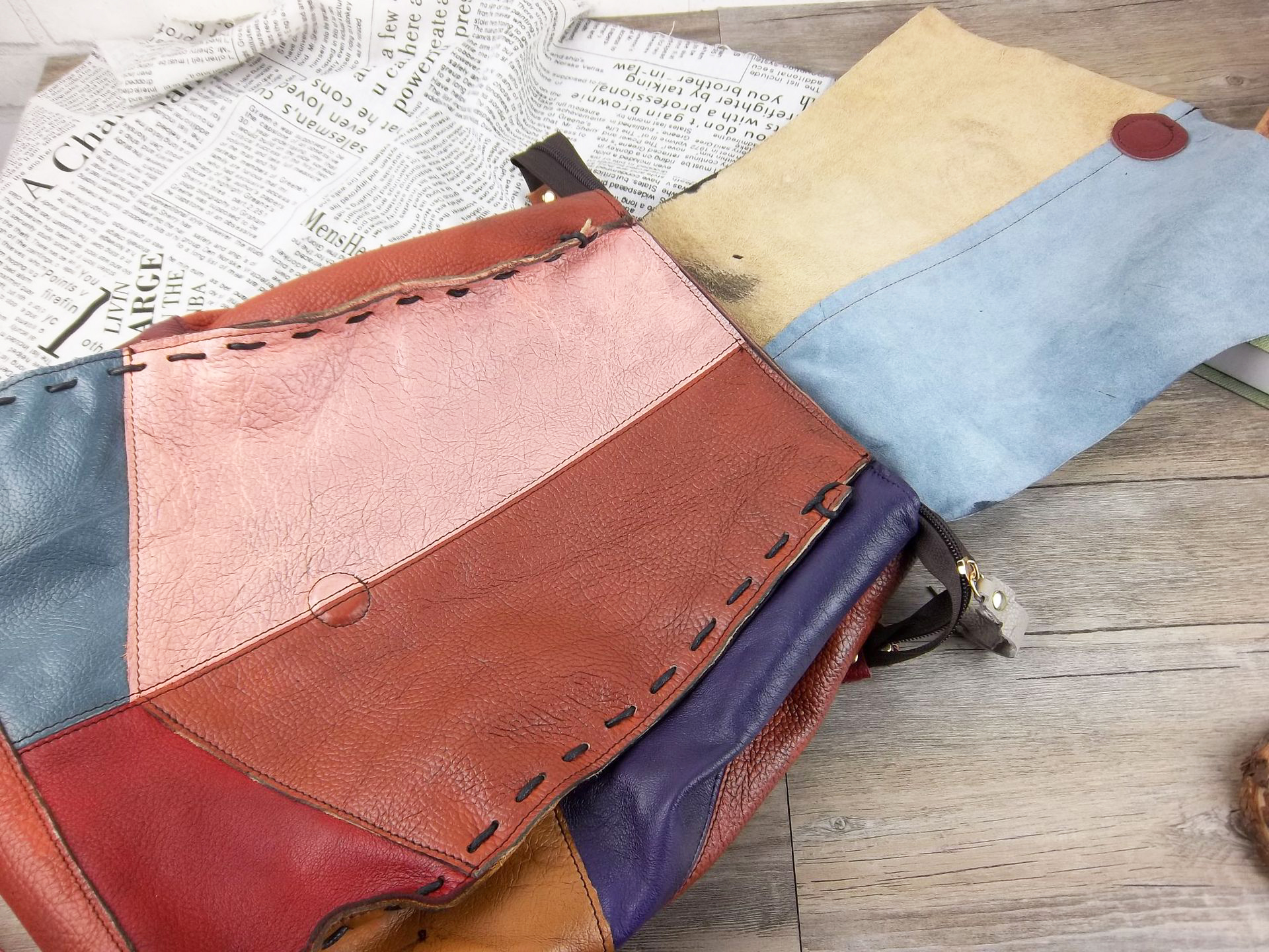 Patchwork Cow Leather Backpack Women Casual Vintage Genuine Leather Retro Knapsack Female High Quality Soft Casual Packsack-in Backpacks from Luggage & Bags    3