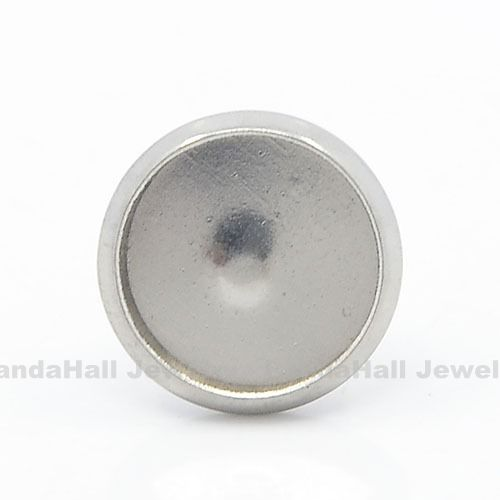 304 Stainless Steel Flat Round Ear Stud Components, Earring Posts, Platinum, Tray: 10mm; 12mm, Pin: 1mm