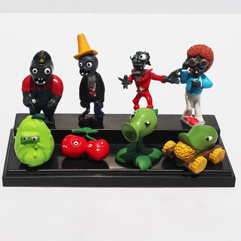 8pcs/set Plants Vs Zombies Toys Pvz Bucket Zombie Ladder Zombie Peashooter Cherry Bomb Winter Melon Pvc Action Figures Volume Large