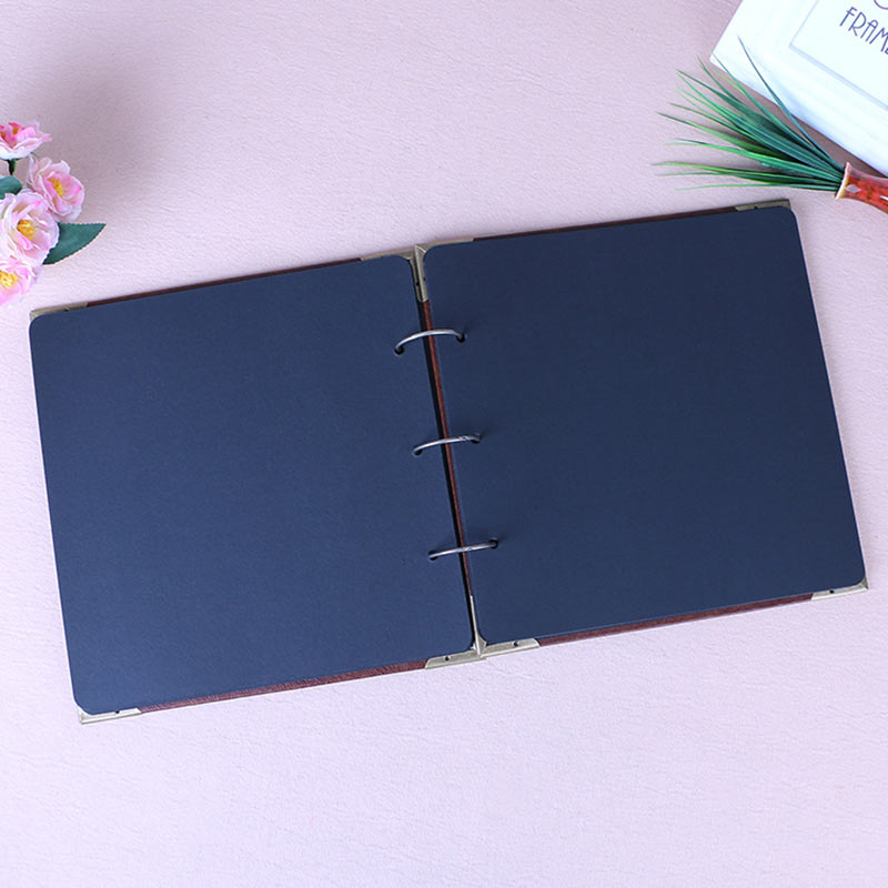 Vintage Three-Ring Binder Picture Photo Album Heart-Shaped Leather Cover Scrapbook Diy Wedding Guest Book Family Memory Book (12)