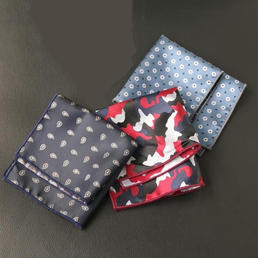 Mantieqingway Classic Handkerchief For Men Cashew Floral Printed Pocket Square For Men Wedding Party Handkercheifs Chest Towel